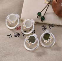White/Dark Green Jade Osmanthus -Silver Earrings