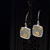 White Jade Gilt Plum Flower Silver Earrings