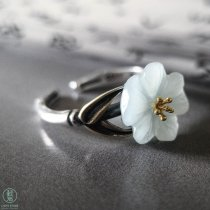 Engraved Silver Plum Flower Jade Ring