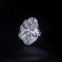 Lotus- Miao Silver Filigree Ring