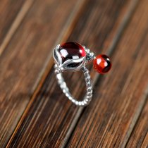 Fox - Red Garnet Silver Ring