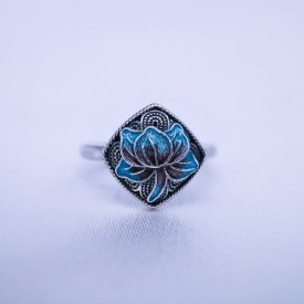 Burning Blue Cloisonne Ring - Lotus