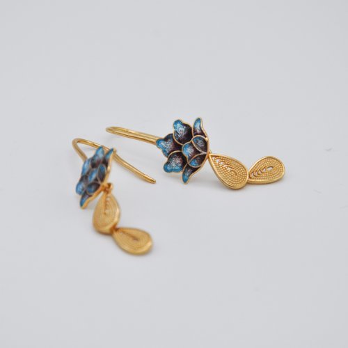 Burning Blue Cloisonné Earrings - Lotus