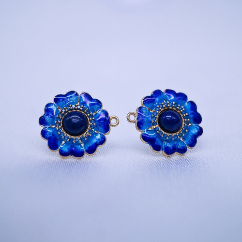 Burning Blue Cloisonné  Ear Stud - Gilt Lazurite Flower