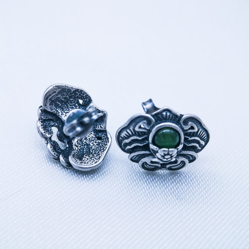 Old Silver Ear Stud - Green Jade Bat