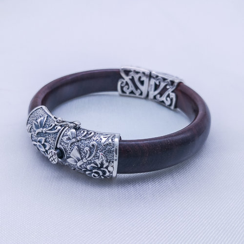 Old Silver Bracelet - Butterfly and Lotus