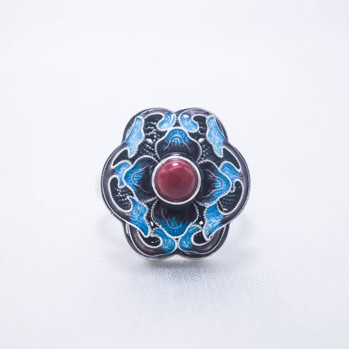 Burning Blue Cloisonné Ring - Blossoming - Red Agate