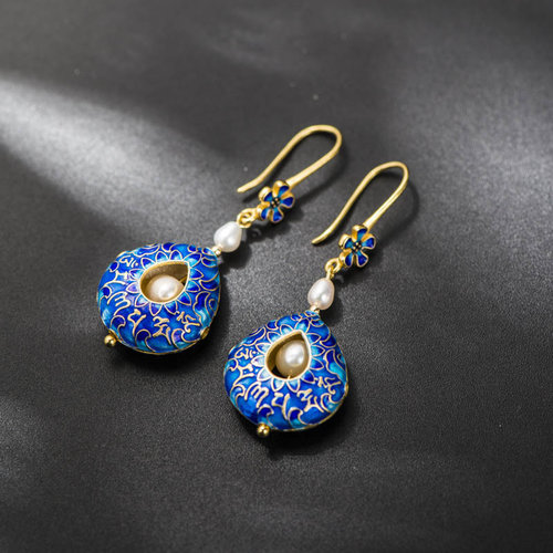 Burning Blue Silver Enamel- Mantra Sky Pearl Earrings