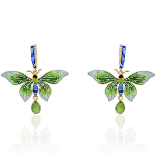 Forbidden City - Burning Blue/Cloisonne Butterfly Silver Earrings