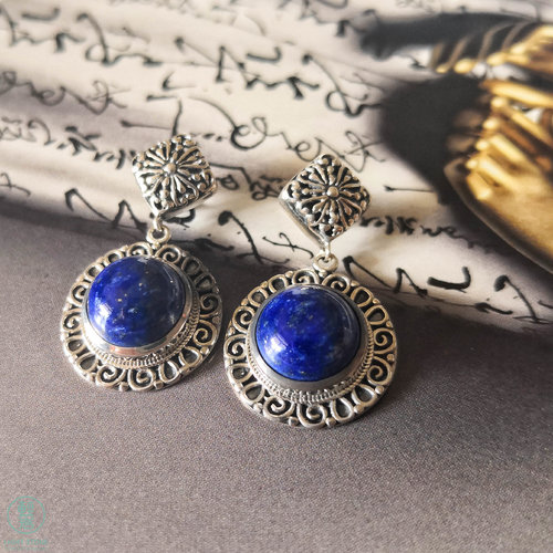Lazurite Silver Earrings - Universe