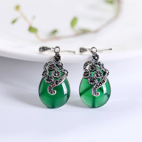 Mosaic Flower - Green Chalcedony Earrings