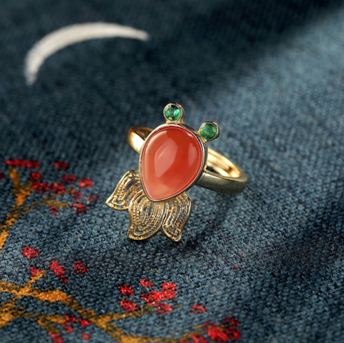 Goldfish - Red Agate Silver Filigree Ring