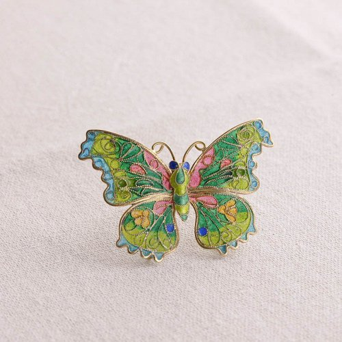Green Butterfly - Glass Enameling Silver Brooch