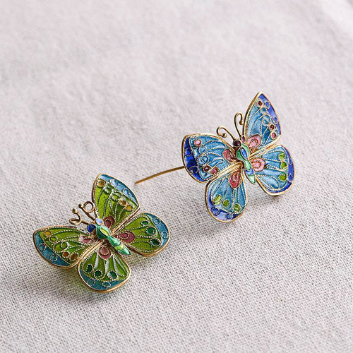 Butterfly - Silver Glass Enameling Brooch