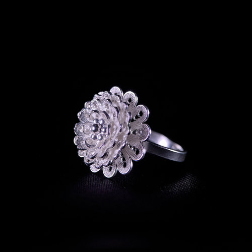 Blossom Flower - Miao Silver Filigree Ring