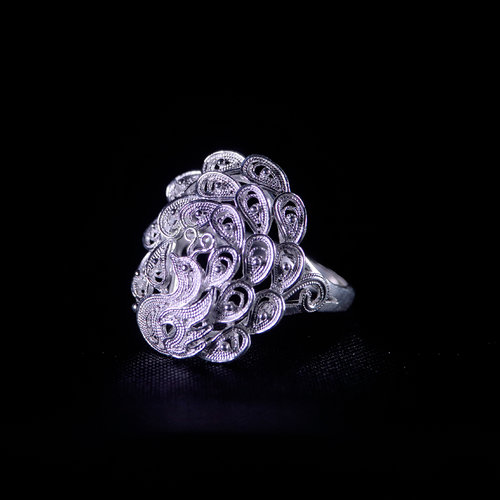 Peacock - Miao Silver Filigree Lace Ring