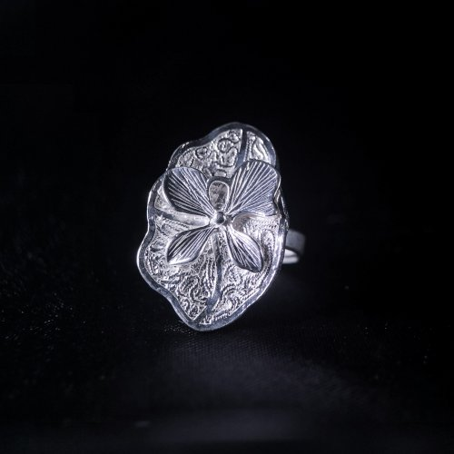 Lotus- Silver Filigree Ring