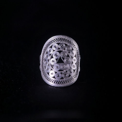 Sun Drum- Miao Silver Filigree Ring