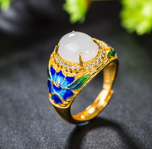 Peony - Burning Blue Cloisonne Silver Jade Ring