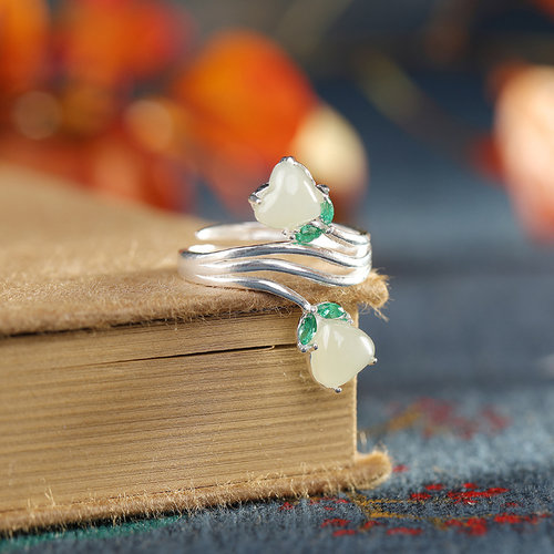 Two Hearts - Jade Silver Ring
