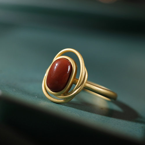 Circle - Vintage Red Agate Silver Ring