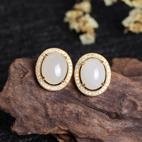 Rose Gold - White Jade Earrings