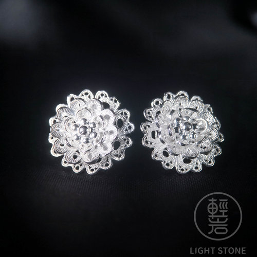 Flower - Miao Silver Filigree Ear Stud