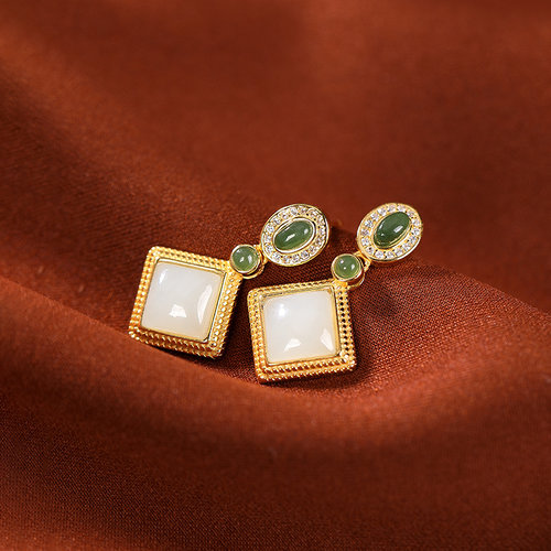 Square - Jade Silver Earrings