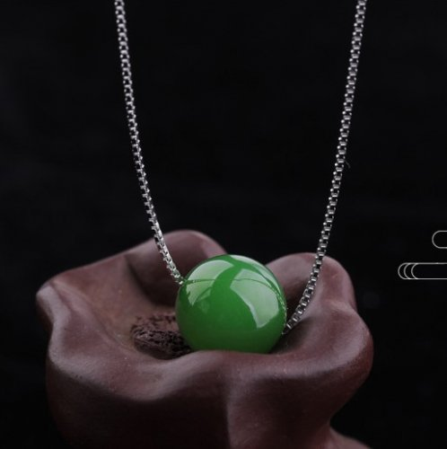 Lucky Ball - Green Jade Necklace