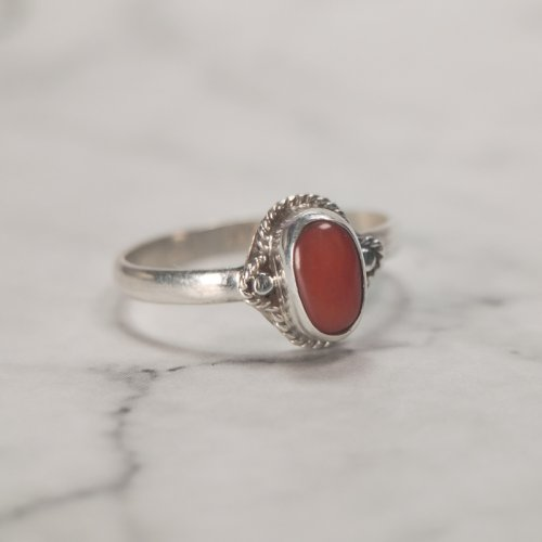 Wheat - Red Coral Handmade Tibetan Silver Ring