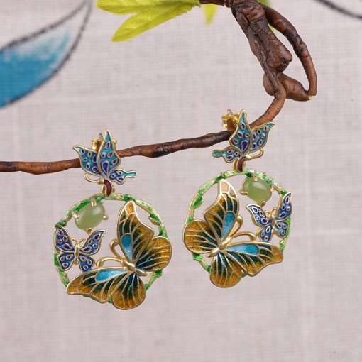 Burning Blue - Cloisonne Butterfly Jade Earrings