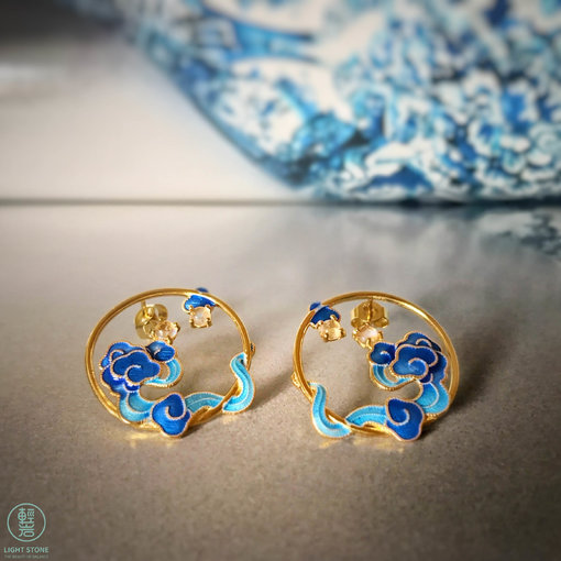 Burning Blue - Cloisonne Lucky Clouds Moon Stone Ear Stud