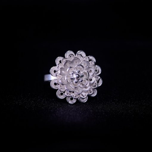 Blossom Flower - Silver Filigree Ring