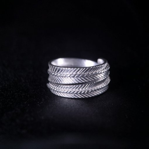 Wheat Leaf -Engraved Chisel Silver  Ring