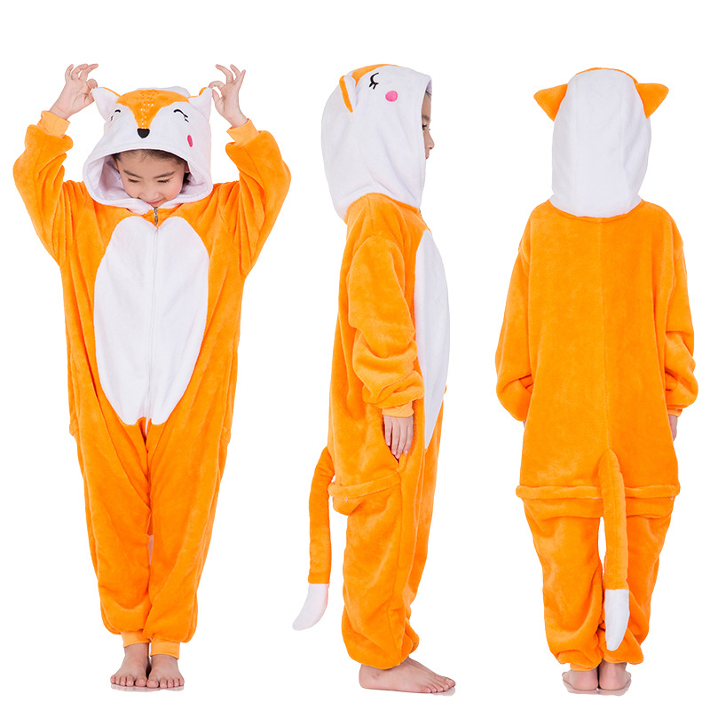 Kids Orange Fox Onesie Kigurumi Pajamas Kids Animal Costumes for Unisex Children