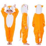 Kids Orange Fox Onesie Kigurumi Pajamas Kids Animal Costumes for Unisex Children