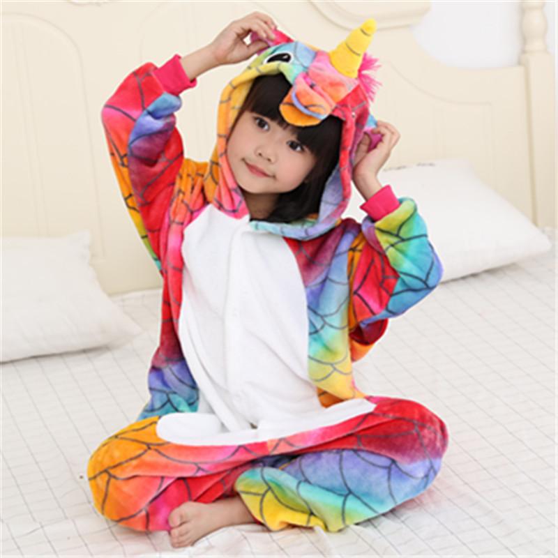 Kids Colorful Fish Scale Unicorn Onesie Kigurumi Pajamas Kids Animal Costumes for Unisex Children