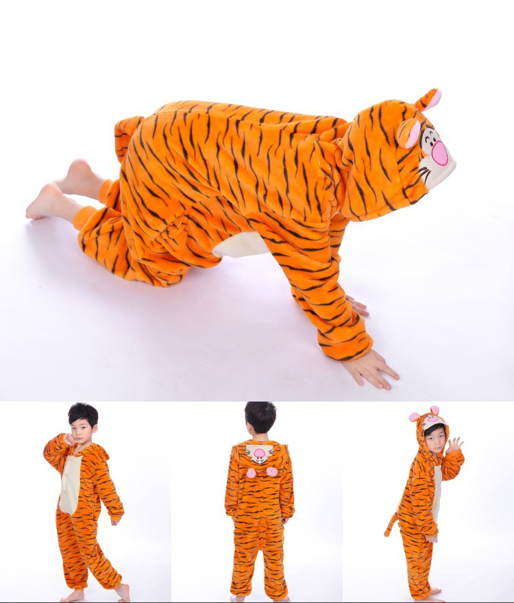Kids Tigger Onesie Kigurumi Pajamas Kids Animal Costumes for Unisex Children