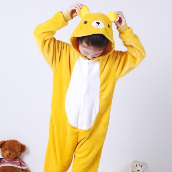 Kids Yellow Bear Onesie Kigurumi Pajamas Kids Animal Costumes for Unisex Children