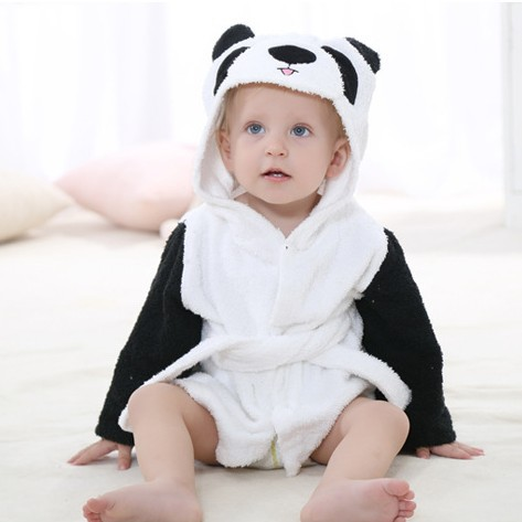 Baby White and Black Panda Bathrobe Tracksuit Thicken Cute Cartoon Animal Hooded Sleepwear