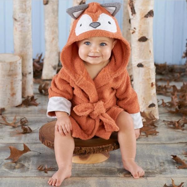 Baby Brown Fox Bathrobe Tracksuit Thicken Cute Cartoon Animal Hooded Sleepwear
