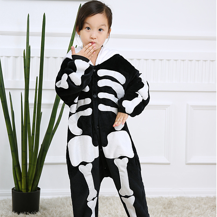 Kids Human Skeleton Onesie Kigurumi Pajamas Kids Animal Costumes for Unisex Children