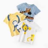 Blue Print Giraffe Cotton Short T-shirt
