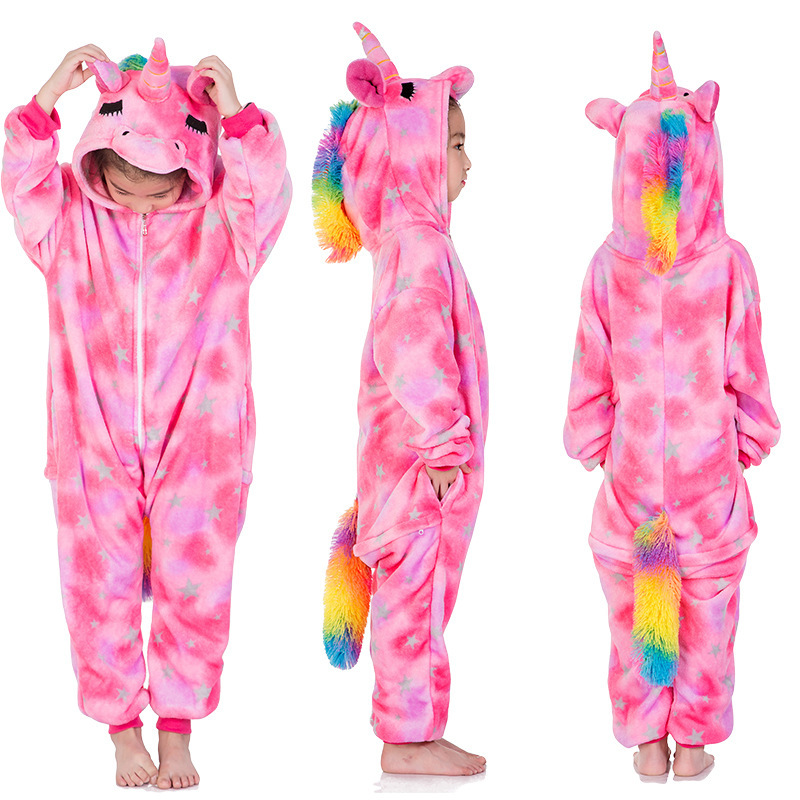 Kids Pink Silver Stars Unicorn Onesie Kigurumi Pajamas Kids Animal Costumes for Unisex Children