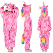 Kids Pink Silver Stars Unicorn Onesie Kigurumi Pajamas Kids Animal Costumes for Unisex Children