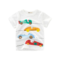 White Cute Cartoon Racing Cars Graphics Cotton T-shirt