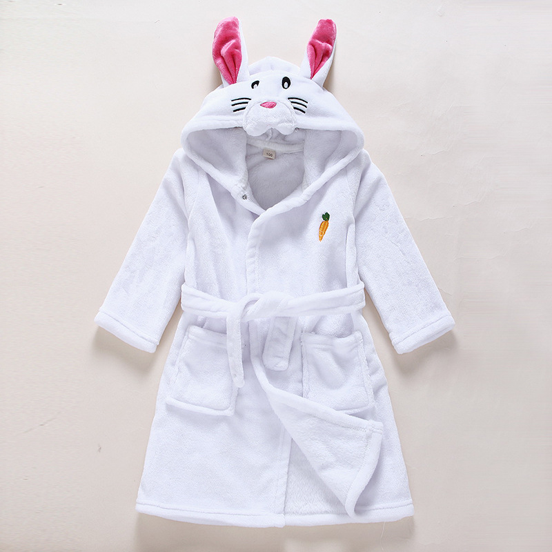Kids White Rabbit Soft Bathrobe Sleepwear Comfortable Loungewear