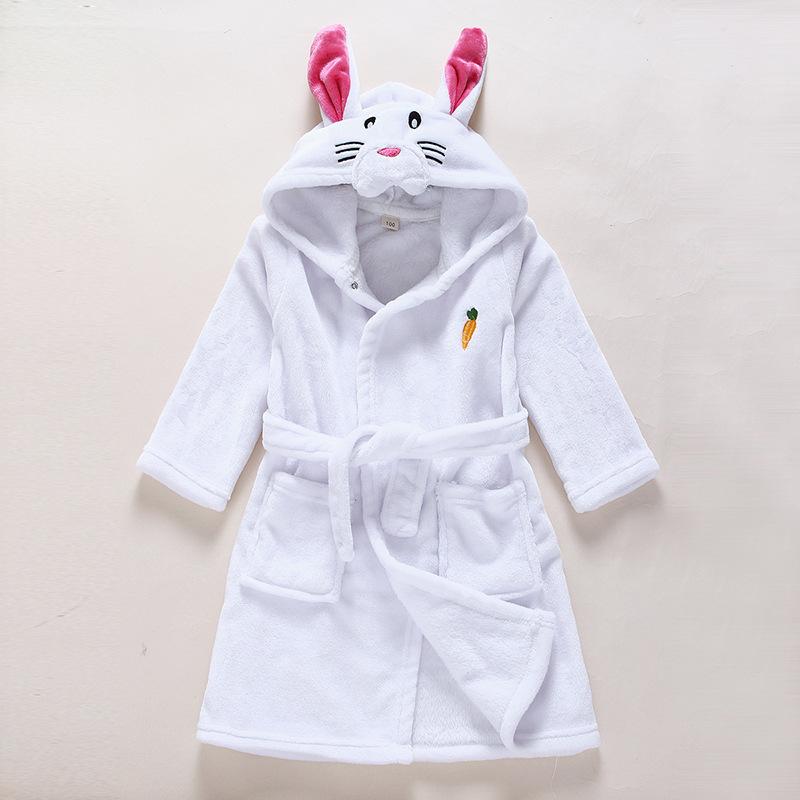 Kids White Rabbit Soft Bathrobe Sleepwear Comfortable Loungewear