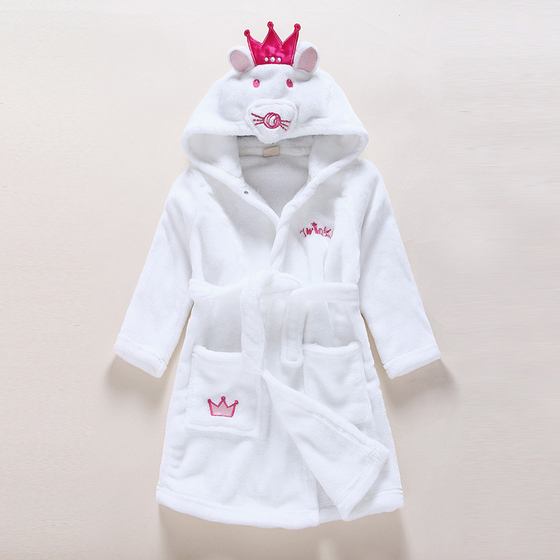 Kids White Mouse Soft Bathrobe Sleepwear Comfortable Loungewear