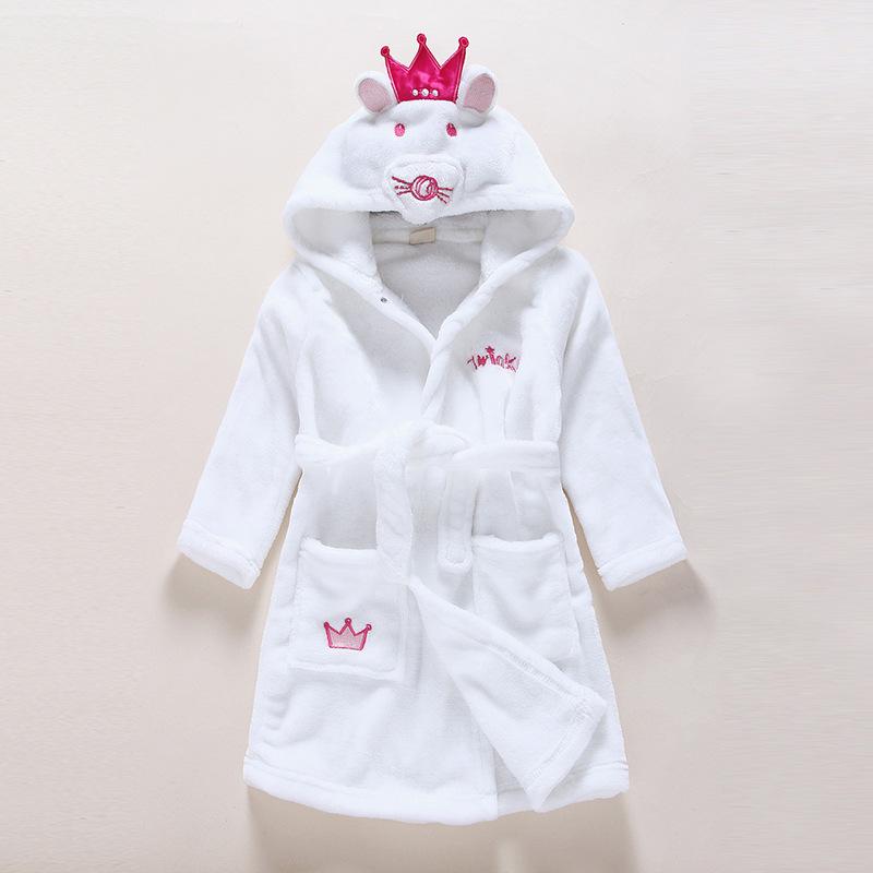 Kids White Mouse Soft Bathrobe Sleepwear Comfortable Loungewear